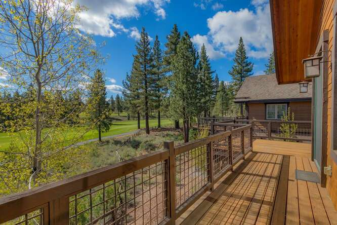 Sunny back deck with golf course views | Grays Crossing Luxury Townhome