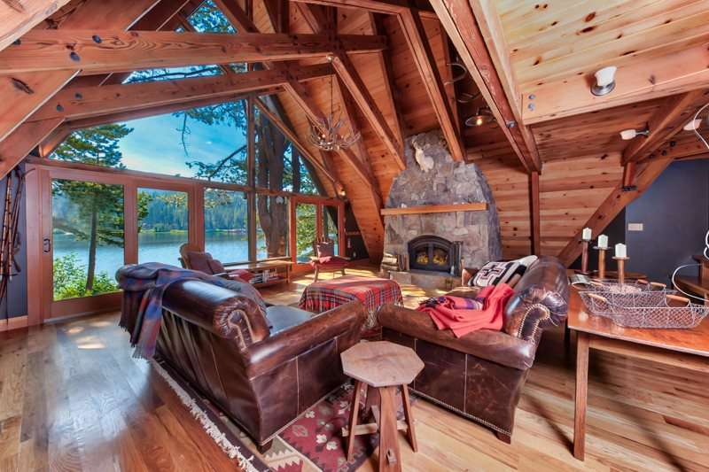 Serene Lakes Real Estate | 1102 Island Way Soda Springs CA | Living Area with Lake View