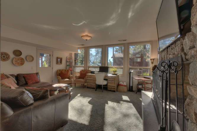 Lower level family room with walk off to brick patio | Lake Tahoe Real Estate
