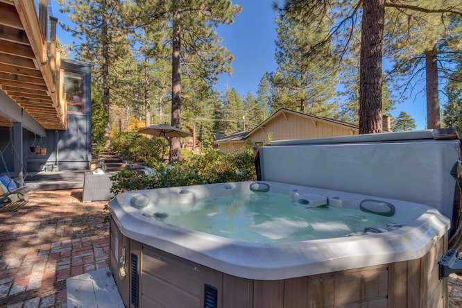 Outdoor brick patio and hot tub | North Lake Tahoe Real Estate