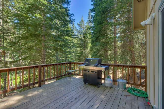Spacious deck facing greenbelt | Lake Tahoe getaway