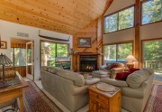 Spacious living room with vaulted pine ceilings | Lake Tahoe Real Estate