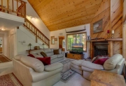 Spacious living room with vaulted pine ceilings| Kings Beach Real Estate
