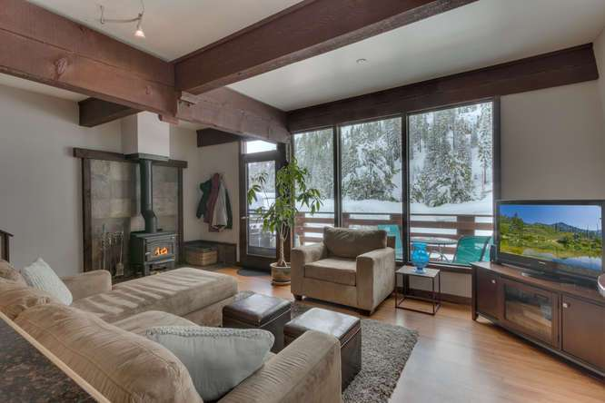 Light and Bright Living Area with Views of Thunder Ridge in Remodeled Alpine Meadows Townhouse For Sale