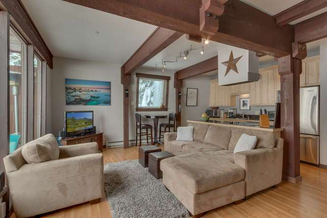Light and Bright Living Area with Views of Thunder Ridge in Alpine Meadows Condo For Sale