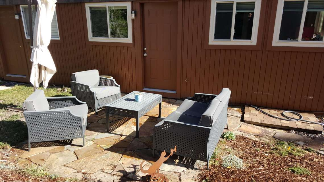 Sunny Flagstone Patio in Back of Unit