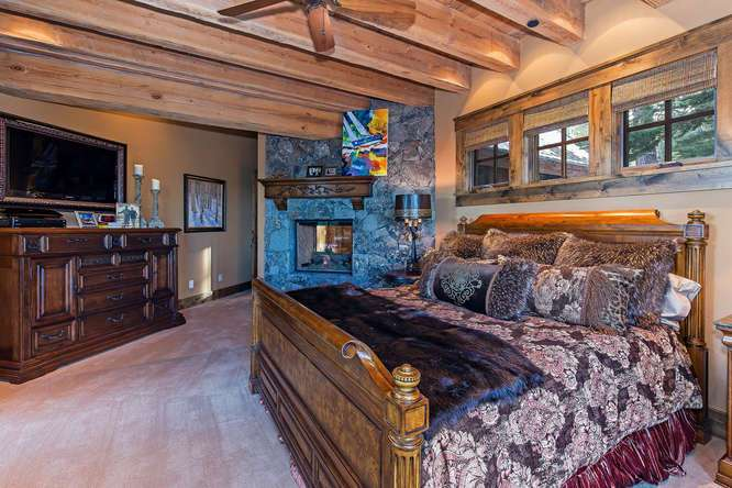 Majestic Master Bedroom with numerous picture windows framing Sierra Crest views | Northstar Home For Sale