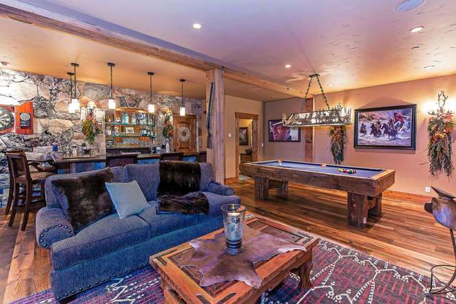 Saloon featuring bar, pool table, media area and bathroom | Homes For Sale Lake Tahoe