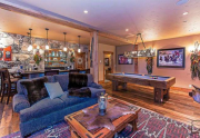 Saloon featuring bar, pool table, media area and bathroom   Homes For Sale Lake Tahoe