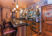 Saloon featuring bar, pool table, media area and bathroom   Northstar Luxury Lodge