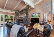 Living Area with Vaulted Ceilings and Picture Windows