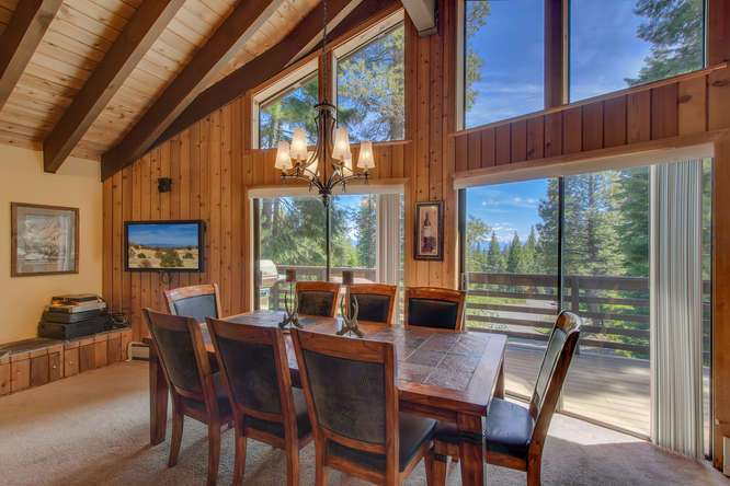 Gorgeous picture windows with peek views of Lake Tahoe