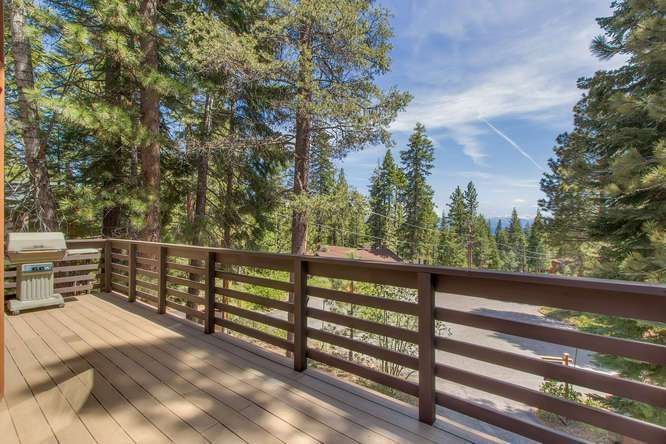 South facing deck with peek views of Lake Tahoe