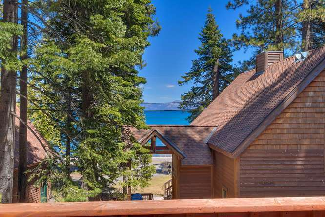 Lake Tahoe Real Estate | 6070 Quail Creek Road | Deck with view of Lake Tahoe