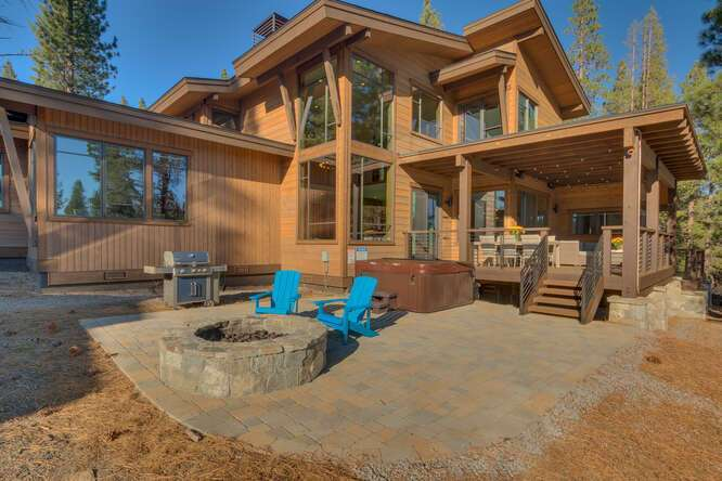 Back patio with firepit | 11251 Ghirard Rd.