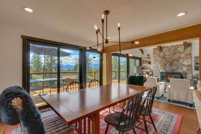 North Lake Tahoe Luxury Home for Sale | 3185 Meadowbrook Drive | Dining Room with View of Lake Tahoe