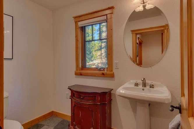 Half Bathroom | Carnelian Bay Luxury Home