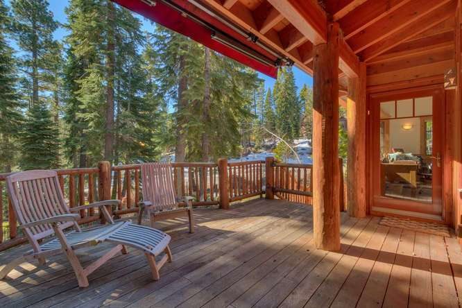 Picturesque deck with forest views | Carnelian Bay luxury home