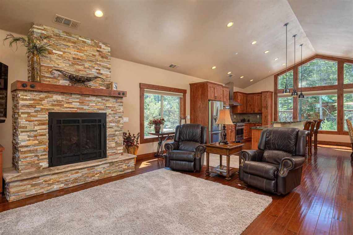 Tahoe Donner Property |  13988 Swiss Lane Truckee, CA | Living Room and Fireplace