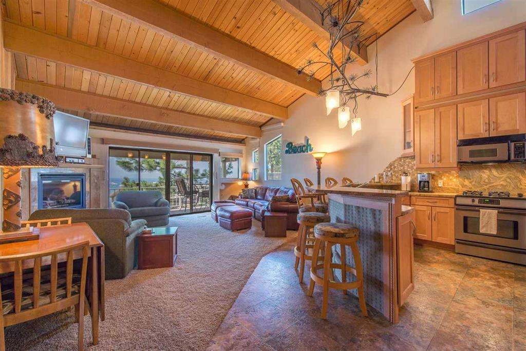 Lake Tahoe Real Estate | 7580 North Lake Blvd | Kitchen and High Ceilings