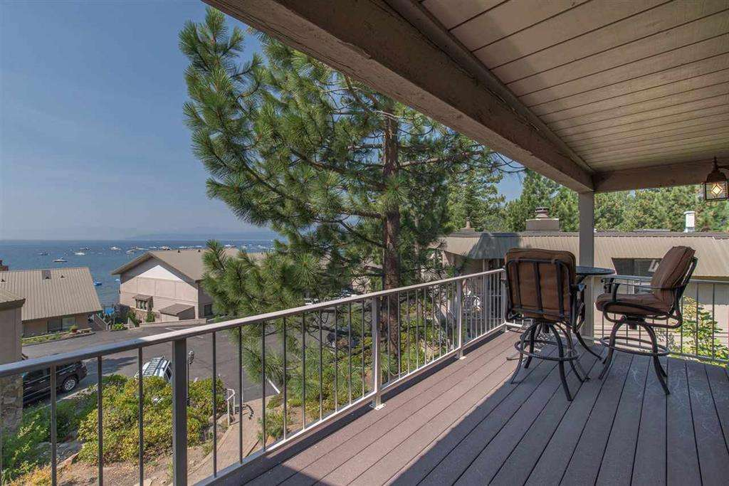 Tahoe Lakefront Condo | 7580 North Lake Blvd | Deck with View of Lake Tahoe