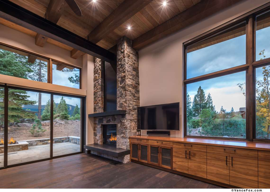 Truckee Luxury Real Estate | 8621 Lloyd Tevis Dr | Fireplace and view