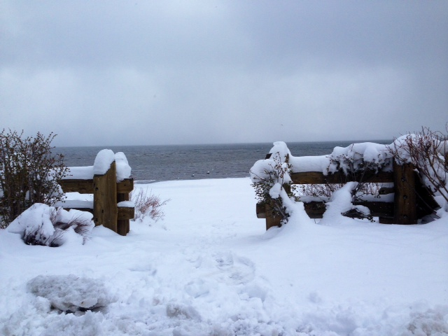 Image of snowy Commons Beach Tahoe City for 5 Feet of Fresh Snow in Lake Tahoe 2014 blog post