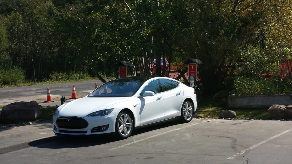 Tesla Model S Charging at Oliver Luxury Real Estate for Tesla Charging Station Tahoe City