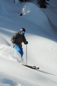 Image of man Powder Skiing in Lake Tahoe for Lake Tahoe Luxury Real Estate