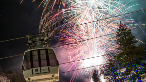 Image of tram with fireworks behind it for New Year's Eve at Squaw Valley for How to Spend the Holidays in North Lake Tahoe blog post