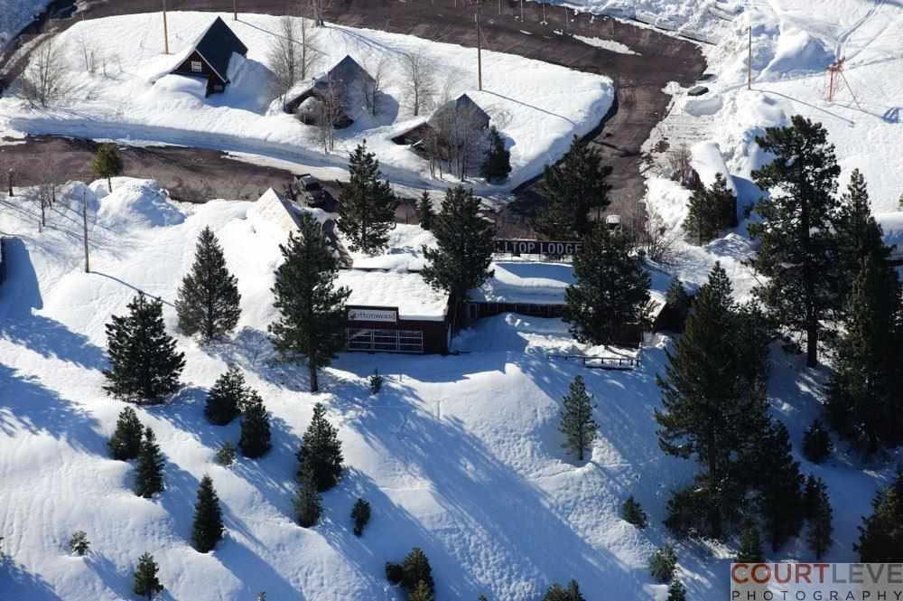 Truckee Development Opportunity, arial view of truckee property for sale with snow on the ground dotted with trees