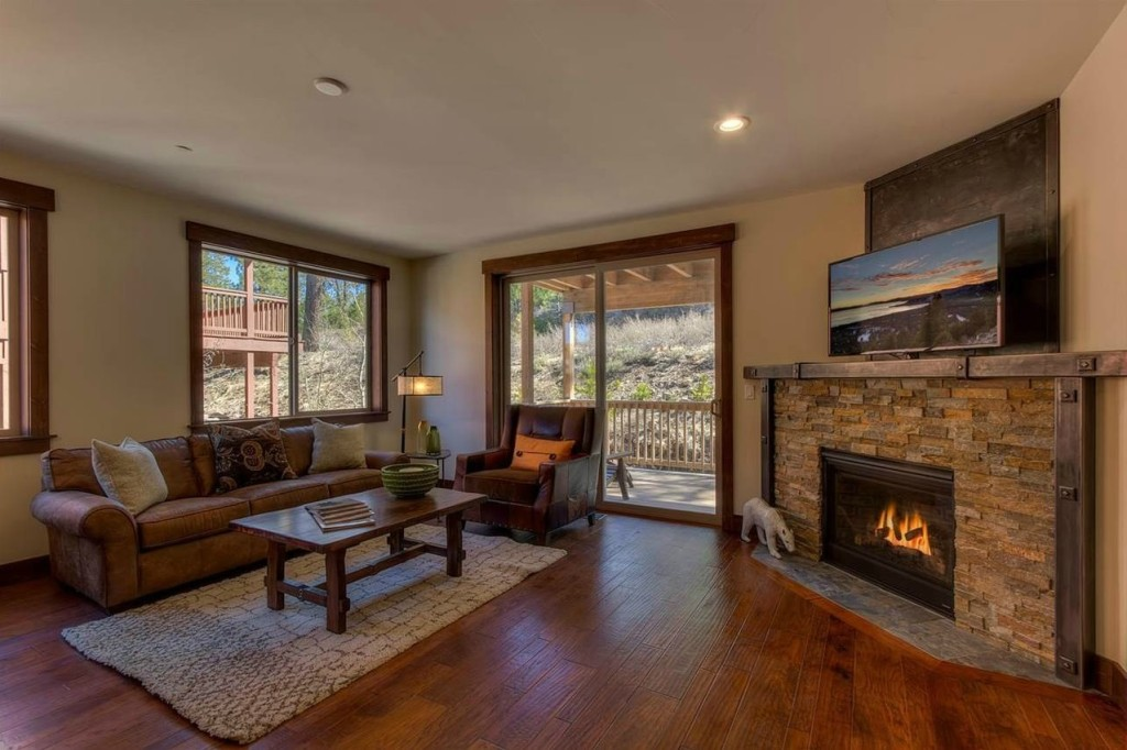 Image of living room and fireplace for The Boulders Condos Truckee, CA