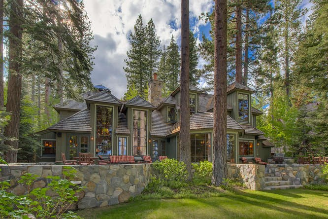 image of front of North Lake Tahoe Luxury Home with trees around it