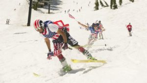 Spring Themed Dress-Up Weekends image of skiier for Lake Tahoe Spring events