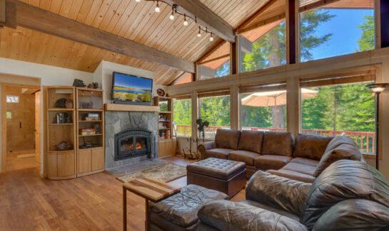 Living Room of Tahoe City Mountain Home